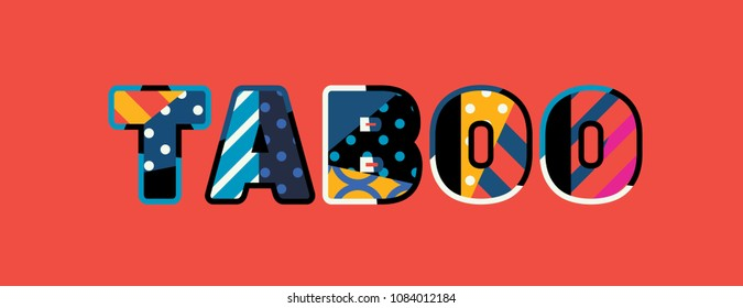 The word TABOO concept written in colorful abstract typography.