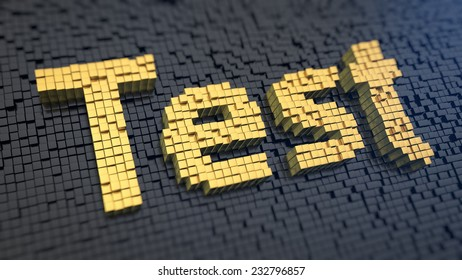 Word 'Test' of the yellow square pixels on a black matrix background