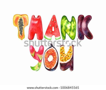 word thank you watercolor fruit alphabetのイラスト素材 1006845565