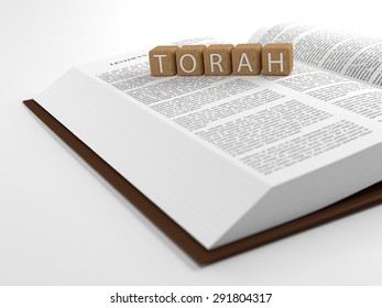 The word Torah placed on an open bible isolated on white. 3D Illustration