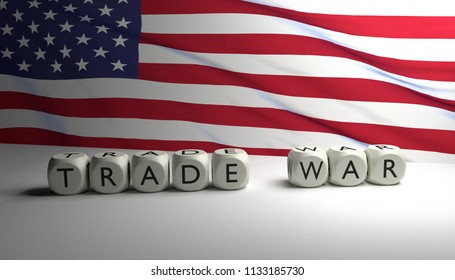 "Word ""TRADE WAR"" written on dices with the flag of the United States of America in background. Trump's trade war against China and European Union. USA vs China vs EU. 3D render."