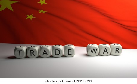 "Word ""TRADE WAR"" written on dices with the flag of China in background. Trump's trade war against China and European Union. USA vs China vs EU. 3D render."