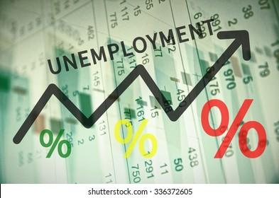 Word unemployment on up trend arrow, with financial data visible on the background.