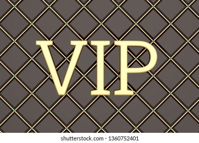The word vip in gold on a black background  3D illustration.