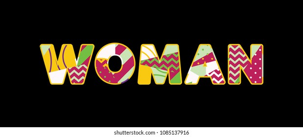 The word WOMAN concept written in colorful abstract typography.