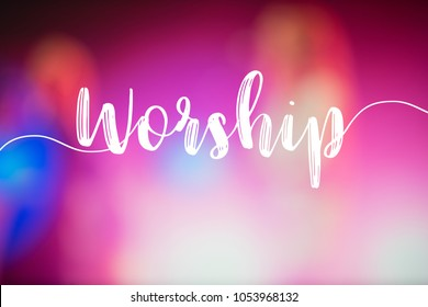 "The word ""Worship"" and the hall in church christian music concert."