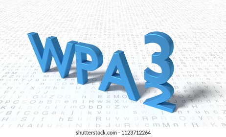 Word WPA3 standing on random letter floor where the 3 is pushing down the 2 replacement concept 3D illustration