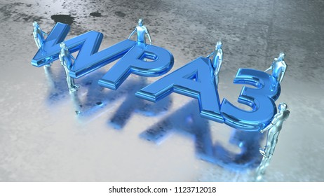 Word WPS3 in metal blue carried by several people on shiny wet metal floor 3D illustration