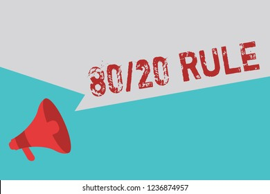 Word writing text 80 20 Rule. Business concept for Pareto principle 80 percent effects come from 20 causes