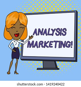 Word writing text Analysis Marketing. Business concept for Quantitative and qualitative assessment of a market White Female in Standing Pointing Blank Screen Whiteboard Presentation.