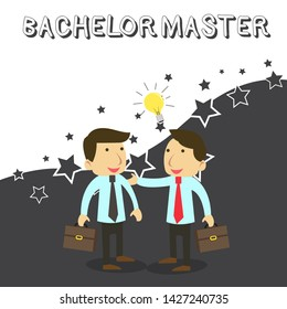 Word writing text Bachelor Master. Business concept for An advanced degree completed after bachelor s is degree Two White Businessmen Colleagues with Brief Cases Sharing Idea Solution.