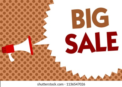 Word writing text Big Sale. Business concept for putting products on high discount Great price Black Friday Megaphone loudspeaker speech bubble message orange background halftone.