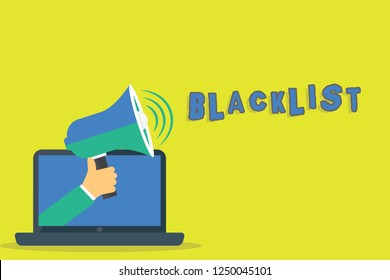 Word writing text Blacklist. Business concept for list of showing or groups regarded as unacceptable or untrustworthy Hu analysis Hand Coming out of PC Monitor Holding Megaphone with Volume Icon.