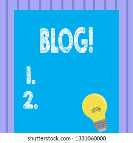 Word writing text Blog. Business concept for Preperation of catchy content for blogging websites.