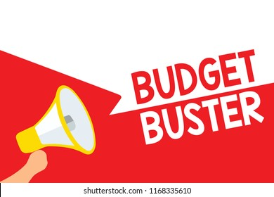 Word writing text Budget Buster. Business concept for Carefree Spending Bargains Unnecessary Purchases Overspending Megaphone loudspeaker speech bubbles important message speaking out loud.