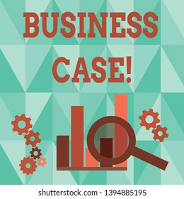 Word writing text Business Case. Business concept for provides justification for undertaking a project or program Magnifying Glass Over Bar Column Chart beside Cog Wheel Gears for Analysis.