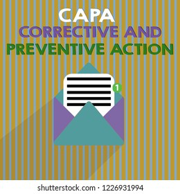 Word writing text Capa Corrective And Preventive Action. Business concept for Elimination of nonconformities