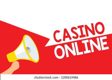 Word writing text Casino Online. Business concept for Computer Poker Game Gamble Royal Bet Lotto High Stakes Megaphone loudspeaker speech bubbles important message speaking out loud.