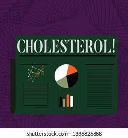 Word writing text Cholesterol. Business concept for Low Density Lipoprotein High Density Lipoprotein Fat Overweight.