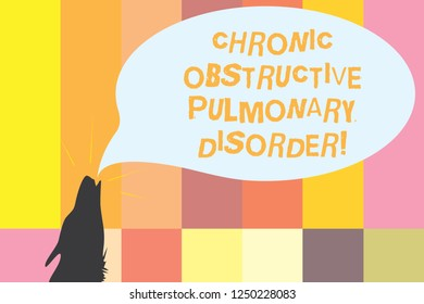 Word writing text Chronic Obstructive Pulmonary Disorder. Business concept for Disease medical treatment required Contour shape of Wolf Head Pointing upward Howling Fiercely Speech Bubble.