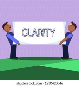 Word writing text Clarity. Business concept for Being coherent intelligible Understandable Clear ideas Precision