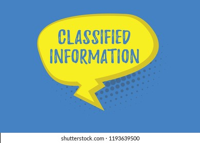 Word writing text Classified Information. Business concept for Sensitive Data Top Secret Unauthorized Disclosure