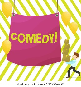 Word writing text Comedy. Business concept for Fun Humor Satire Sitcom Hilarity Joking Entertainment Laughing Man Carrying Pile of Boxes with Blank Tarpaulin in the Center and Balloons.