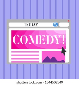 Word writing text Comedy. Business concept for Fun Humor Satire Sitcom Hilarity Joking Entertainment Laughing Blank Template of Pastel Colorful Website Layout Design for Homepage Format.