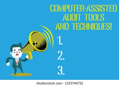 Word writing text Computer Assisted Audit Tools And Techniques. Business concept for Modern auditing applications Man in Suit Earpad Standing Moving Holding a Megaphone with Sound icon.