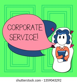 Word writing text Corporate Service. Business concept for activities combine enterprise needed support services Girl Holding Book with Small Hearts Around her and Two Color Speech Bubble.