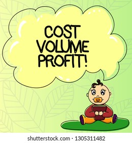 Word writing text Cost Volume Profit. Business concept for form of cost accounting and It is simplified model Baby Sitting on Rug with Pacifier Book and Blank Color Cloud Speech Bubble.