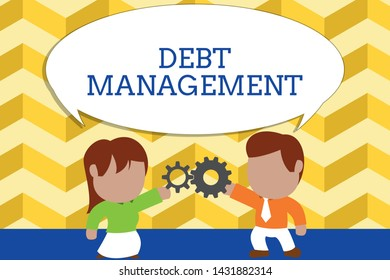 Word writing text Debt Management. Business concept for The formal agreement between a debtor and a creditor Standing young couple sharing gear. Man tie woman skirt commerce relation.