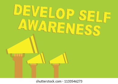 Word writing text Develop Self Awareness. Business concept for increase conscious knowledge of own character Three sound loud speaker multiple lines text message social networking.