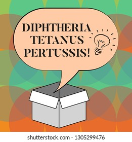 Word writing text Diphtheria Tetanus Pertussis. Business concept for vaccines against three infectious diseases Idea icon Inside Blank Halftone Speech Bubble Over an Open Carton Box.