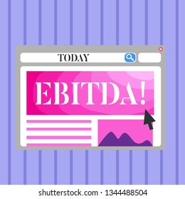 Word writing text Ebitda. Business concept for Earnings Before Interest Taxes Depreciation Amortization Abbreviation Blank Template of Pastel Colorful Website Layout Design for Homepage Format.