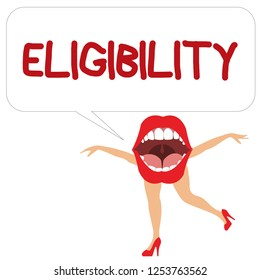 Word writing text Eligibility. Business concept for State of having the right for doing or obtain something Proper