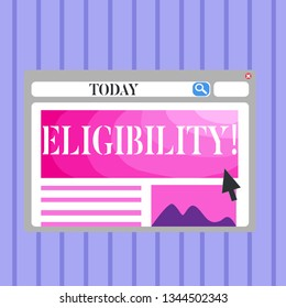 Word writing text Eligibility. Business concept for State of having the right for doing or obtain something Proper Blank Template of Pastel Colorful Website Layout Design for Homepage Format.