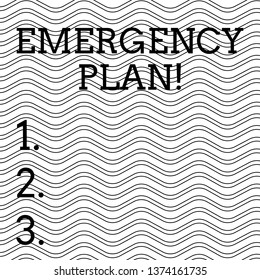 Word writing text Emergency Plan. Business concept for actions developed to mitigate damage of potential events Pattern of Seamless Wavy and Curly Black Horizontal Lines on White Surface.