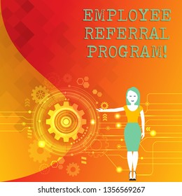 Word writing text Employee Referral Program. Business concept for Recommend right jobseeker share vacant job post Woman Standing and Presenting the SEO Process with Cog Wheel Gear inside.