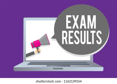 Word writing text Exam Results. Business concept for An outcome of a formal test that shows knowledge or ability Man holding megaphone loudspeaker speech bubble message speaking loud.