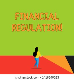 Word writing text Financial Regulation. Business concept for aim to Maintain the integrity of Finance System Back view young long hair woman holding big blank square announcement.