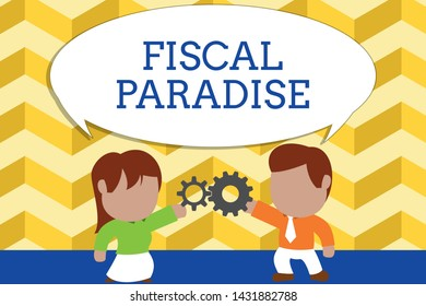 Word writing text Fiscal Paradise. Business concept for The waste of public money is a great concern topic Standing young couple sharing gear. Man tie woman skirt commerce relation.