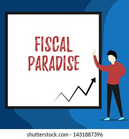 Word writing text Fiscal Paradise. Business concept for The waste of public money is a great concern topic View young man standing pointing up blank rectangle Geometric background.
