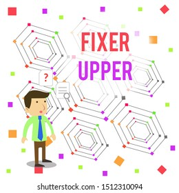 Word writing text Fixer Upper. Business concept for house in need of repairs used chiefly connection with purchase Young Male Businessman Office Worker Standing Searching Problem Solution.