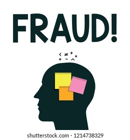 Word writing text Fraud. Business concept for wrongful criminal deception intended result financial or personal gain
