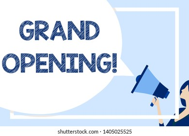 Word writing text Grand Opening. Business concept for held to mark the opening of a new business or public place Huge Blank Speech Bubble Round Shape. Slim Woman Holding Colorful Megaphone.