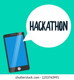 Word writing text Hackathon. Business concept for event where large number of showing engage in programming