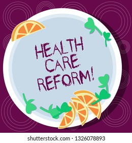 Word writing text Health Care Reform. Business concept for general rubric used for discussing major Medical policy Cutouts of Sliced Lime Wedge and Herb Leaves on Blank Round Color Plate.
