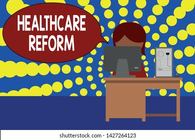 Word writing text Healthcare Reform. Business concept for Innovation and Improvement in the quality of care program Young female working office sitting desktop computer office monitor photo.