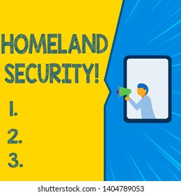 Word writing text Homeland Security. Business concept for federal agency designed to protect the USA against threats Isolated geometrical background man chest holding megaphone speech bubble.